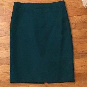 J Crew No 2 pencil skirt in emerald green
